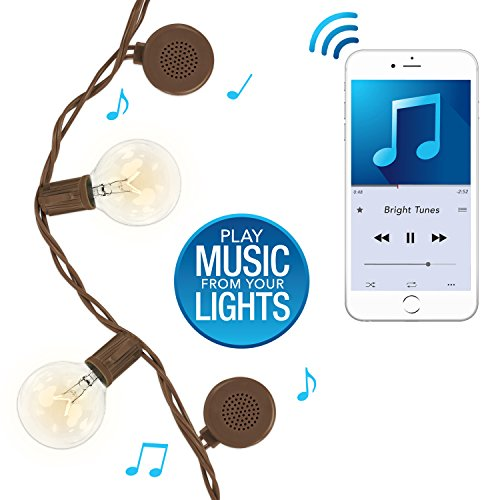 Innovative Technology BRT-200-EE-12 Bright Tunes Decorative String Lights with Bluetooth Speakers Warm Incandescent Clear Round bulbs Brown Cord