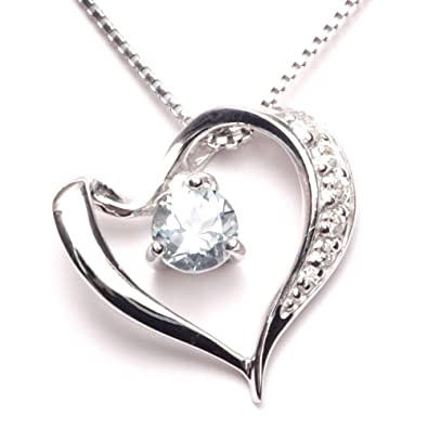 5e2ddd59b1 A.UN jewelry ハート ネックレス 鑑別済みアクアマリン 4mm 誕生石 3月 スワロフスキー レディース