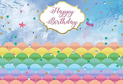 Yeele 6x4ft Background For Photography Birthday Under The Sea Backdrop Underwater World Color Scales Party Decoration