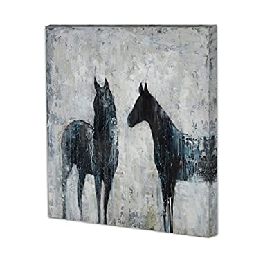 Contemporary Black Horses - Canvas Art Print, Ready to Hang, 36 by 36-Inch, Modern Wrapped Artwork for Home Decoration