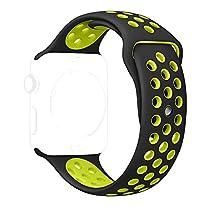 Apple Watch Band, Shielda Soft Smart Watch Replacement Band Sport Band For Apple Watch Nike+,Apple Watch Series 1, Series 2 (42MM Black/Volt)