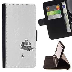 Ancla de la nave Art Velas Dibujo Negro Blanco- Modelo colorido cuero de la carpeta del tirón del caso cubierta piel Holster Funda protecció Para Apple (5.5 inches!!!) iPhone 6+ Plus / 6S+ Plus