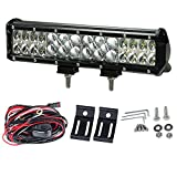 LITE-WAY 224W 12Inch Philips Lumileds LED Light Bar Waterproof Flood Spot Combo Work Driving Lights with Mounting Brackets & Wiring Harness for SUV UTE ATV Truck 4x4 Boat Lamp, 1 Year Warranty