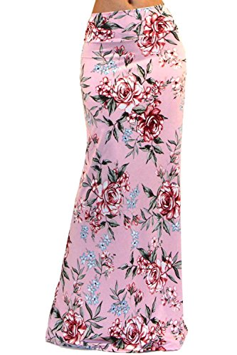 Vivicastle Womens USA Colorful Printed Fold Over Waist Full Maxi Skirt