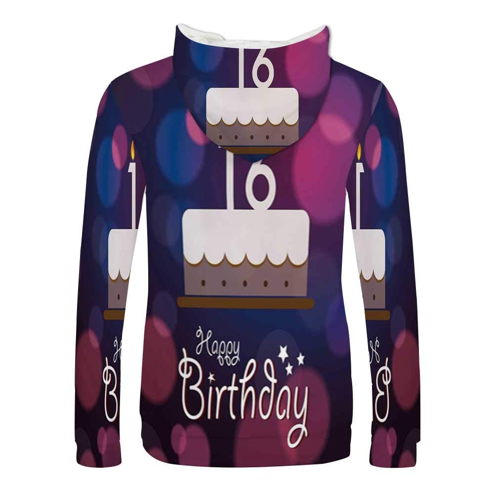 16th Birthday Decorations Stylish Hoodie,Cake Candle Anniversary of Birth Best Wishes Young Sweaters for Men /& Boys,Small