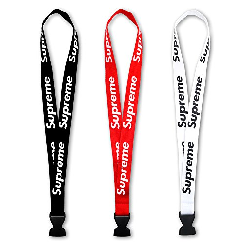 Neck Lanyard 3 Pack, Neck Lanyard with Quick Release Buckle for Keys Keychains Phones Bags Accessories Red Black and White