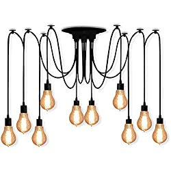 Veesee 10 Arms Industrial Ceiling Spider Lamp,Retro E26 Edison Bulb Hanging Chandelier Lights, DIY Adjustable Modern Chic Pendant Lighting for Bedroom Dinning Living Room Kitchen Island Coffee Shop