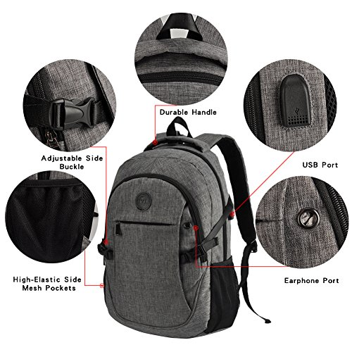 High School Backpack, 15.6'' College Business Travel Laptop Backpack by EASTERN TIME by EASTERN TIME (Image #4)
