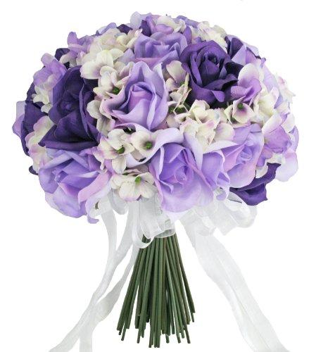 Hydrangea-Rose-Purple-Lavender-Hand-Tie-Large-Silk-Bridal-Wedding-Bouquet