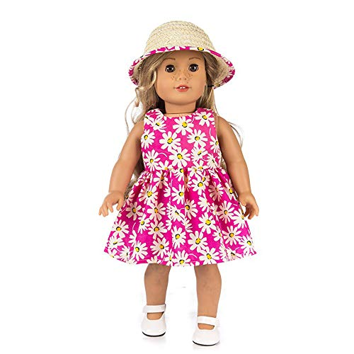 Livoty Clothes Set Dress+Hat Printed for 18 Inch American Boy Doll Accessory Girl Toy (Pink) ()