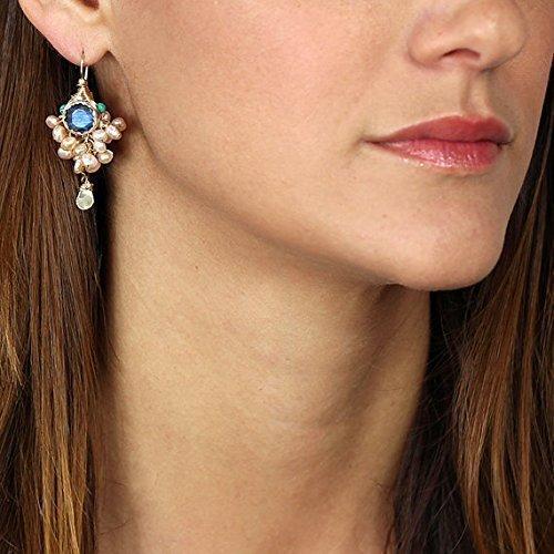 Designer Labradorite Pearl Genuine Gemstone Bridal Goddess Earrings in Gold ()