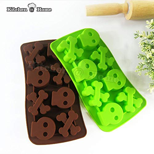 1 piece Silicone Halloween Skull Bone Modeling Cake Moulds Cookie Baking DIY Chocolate Pudding Ice Lattice Mold Fondant Tools K261]()