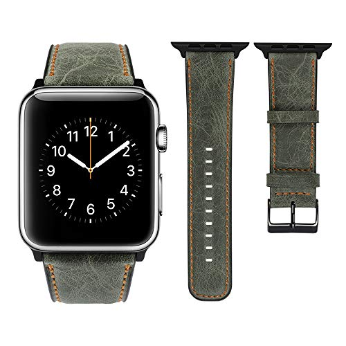 top4cus Genuine Leather iwatch Strap Replacement Band Stainless Metal Clasp, Compatible Apple Watch Series 4 Series 3 Series 2 Series 1 and Sport Edition (Retro Green, 42 mm)