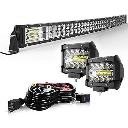 "TURBO SII 40/42"" LED Light Bar Curved 5D 240W Flood Spot Combo Beam Led Bar W/ 2Pcs 4in Off Road Driving Fog Lights with Wiring Harness-3 Leads for Jeep Trucks Polaris ATV Boats Lighting"