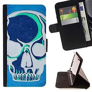 Stuss Case / Funda Carcasa PU de Cuero - Azul del trullo Artística Cráneo gris Arte Graffiti - HTC One A9