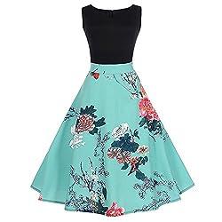 Hgwxx7 Women Vintage Floral Print Sleeveless Casual Evening Party Hepburn Dress Xxl Blue