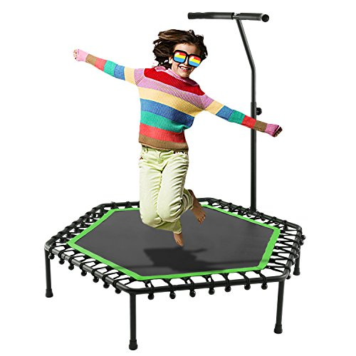 "Ziema Fitness Trampoline Silent Bounce, 50"" Mini Rebounder with Adjustable Handle Workout Cardio Training for kid or Adult"