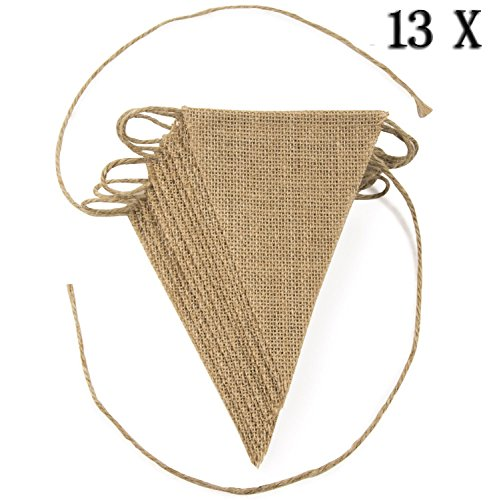 Flag Piece 13 (Yonger 13 Pieces Flags Hessian Burlap Banner, DIY Hand Painted Decoration for Wedding, Birthday and Kids Party)