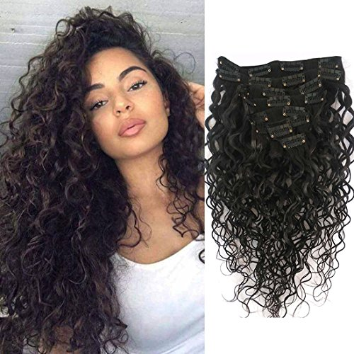 Doren Deep Curly Clip In Human Hair Extensions for Women 8Pcs 20Clips 120g 8A Virgin Remy Brazilian Wavy Curly Hair Natural Color 16 Inches