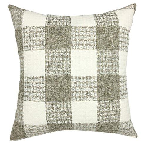 YOUR SMILE Retro Farmhouse Tartan Plaid Cotton Linen Square Decorative Throw Pillow Case Cushion Cover Pillowcase for Sofa 18 x 18 Inch, Set of 2 (Beige/New Checker) by YOUR SMILE (Image #3)