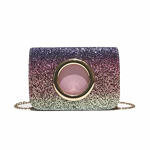 New Square Shoulder Sequins Bag Chain Bag Bag Slanting Fashionable Colour Style 2018 Shoulder Black dqnwHWgdt