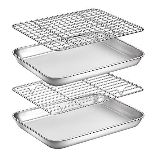 Stainless Steel Cookie 9inch 2 Pans + 2 Racks Baking Sheet with Rack Set