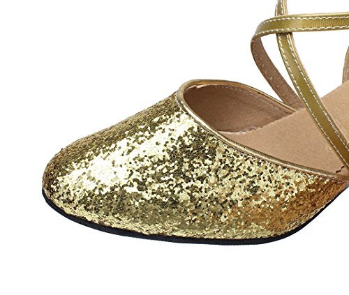 Pumps Wedding MGM Modern Heel Comfort Dance Glitter Style1 Closed Strap 5cm Salsa Cross Toe Shoes Synthetic Joymod Ballroom Women's Latin Gold Party Social rwrxCaUqA