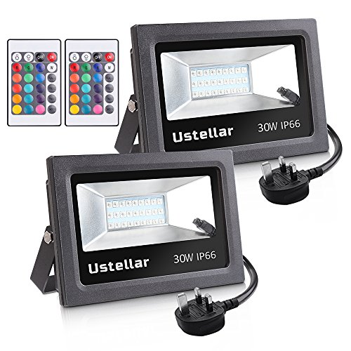 Ustellar 2 Pack 30W LED RGB Floodlight, Coloured Flood Light with Remote...
