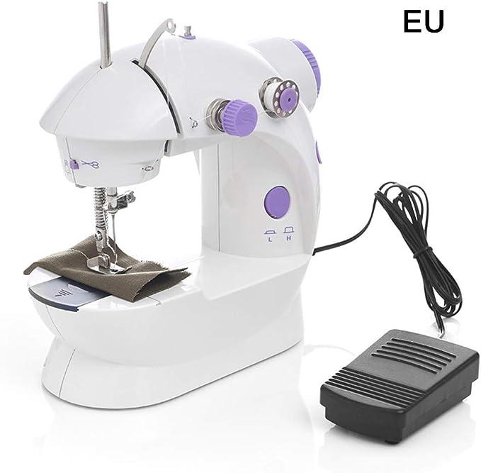 QINGHUI - Mini tejido portátil para coser a mano, máquina de coser o coser sin cables para tejidos, motor más fuerte y enhebrador automático de agujas L 2 White 2: Amazon.es: Hogar