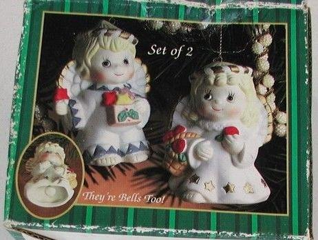 - Angel Ceramic Bell Ornaments - Set of 2