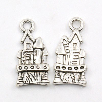 25 PCS Tibetan Style Pendants, Lead Free and Nickel Free, Castle, Antique Silver, Size: about 21mm long, 10mm wide, 3mm thick, hole: 3mm