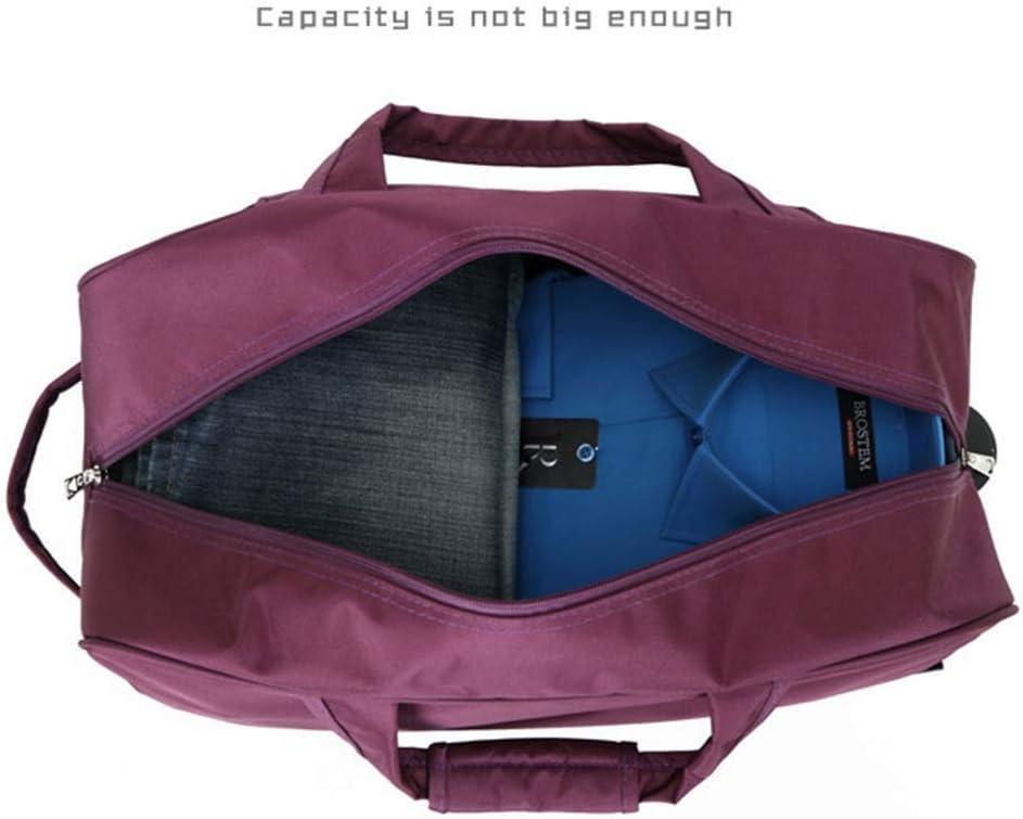 FANQIECHAODAN Waterproof Travel Bag with Wheels,Light Hand Bag Men and Women,Trolley Bag,Large Capacity Travel Handbag 18.5 Inches Pocket Rolling Duffel Bag Color : Brown
