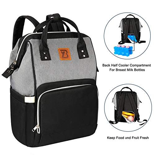 Baoyun Diaper Bag Backpack for Mom&Dad Maternity Waterproof Travel Diaper Bags with Large Insulated Cooler for Breast Milk Multi-Function Baby Nappy Bags for Baby Boys&Girls