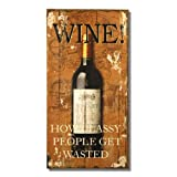 Joveco Decorative Vintage Style Wood Sign Plaque For Wall Hanging (Wine)
