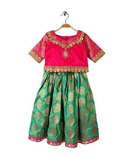 - Mom's Girl Brocade Lehenga & Choli Set - Green and Pink,Ethnic Wear, Girl Dresses,Silk Lehenga Choli Embroidery and Pink,Ethnic Wear, Girl Dresses,Silk Lehenga Choli (6-7 Years)