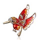 MYANAIL Colorful Crystal Zircon Hummingbird Animal Brooch, Fashion Colored Bird Brooch Pin for Woman (Red)