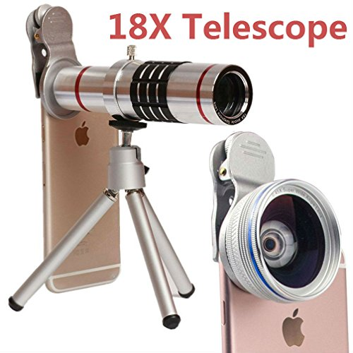 Camera Lens,Hangang Cell Phone Camera Lens, 18X Metal Telescope Tube 18X Optical Manual Focus Telephoto Lens for iPhone and Other Smartphones Include Tripod+Bag+Lens cap+Cloth+Universal clip(silvery) by HANGANG