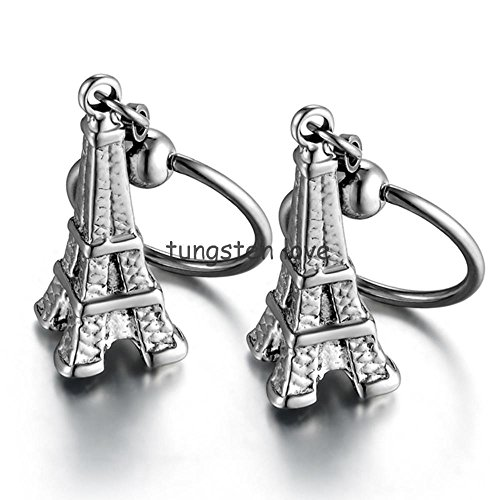 Harkarin Arrivals Pair of Stainless Steel Eiffel Tower Pendant Dangle Earrings