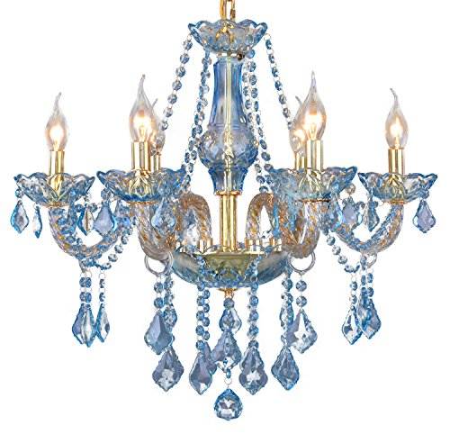 Pendant Lamp Hotel Restaurant Hanging Light Water Blue Crystal Chandeliers Living Room Bedroom Candle Ceiling Lighting Fixture 6 Lights