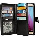 NEXTKIN Honor 5X Case, Leather Dual Wallet Folio TPU Cover, 2 Large Pockets Double flap Privacy, 9 Card Slots Snap Button Strap For Huawei Honor 5X/ Sensa 4G LTE H710VL H715BL - Black