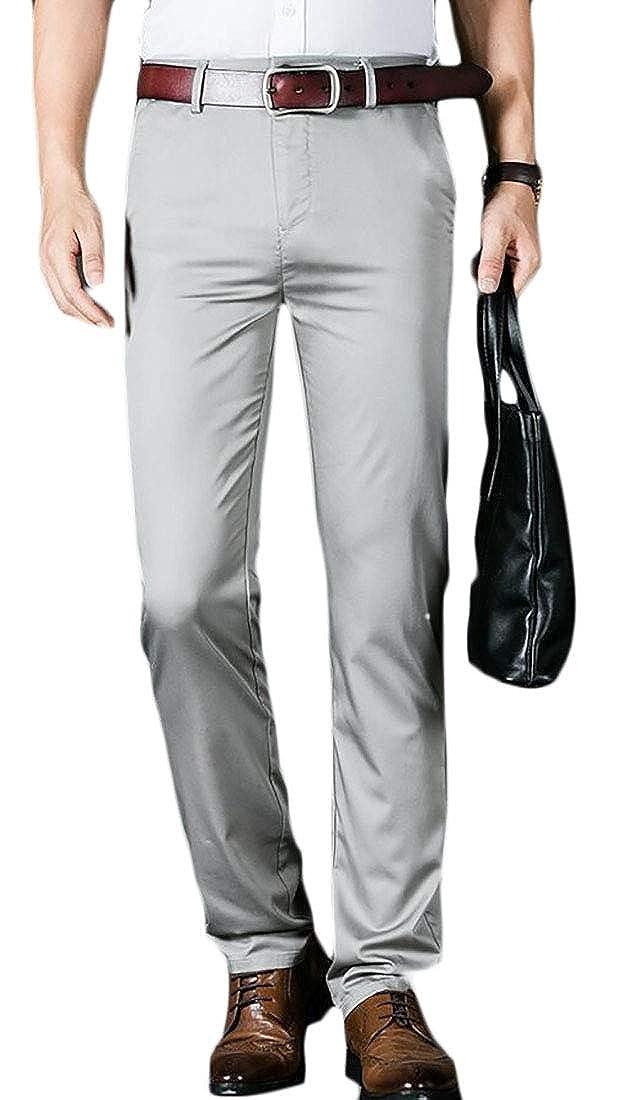 ouxiuli Mens Business Straight Leg Flat Front Solid Dress Suit Pants
