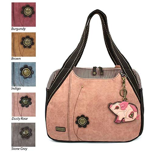 Chala Handbag Bowling Zip Tote Large Bag Pleather Rose Pink Pig Coin ()
