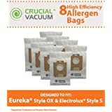 8 Allergen-rated Paper Vacuum Bags for Electrolux Harmony Oxygen Vacuums; Compare to Electrolux Part Nos. 61230, 61230a, 61230b and 61230c; Designed & Engineered by Think Crucial