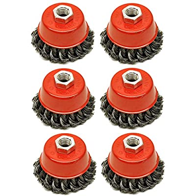 """Wire Cup Brush Wheel 3"""" for 4-1/2"""" 115mm Angle Grinder Twist Knot 6 Pack TE243"""