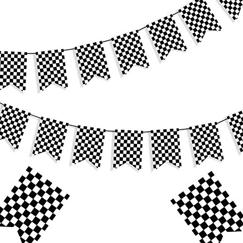 Checkered Black and White Banner Race Flag Banner Checkered Flag Banner Racing Flags Racing Birthday Party Supplies Finish Line Banner Race Car Party Decorations F1 Race Flag Welcome Race Fans Banner - 8* 5.5 Inches ()