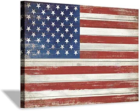 American Flag Canvas Wall Art USA Old Glory Picture Wooden Texture Painting Artwork for Living Room Office 45 x 30 x 1 Panel