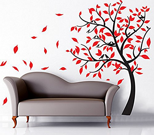 (ufengke Love Nest Tree Red Leaves Birds Wall Decals, Living Room Bedroom Removable Wall Stickers)