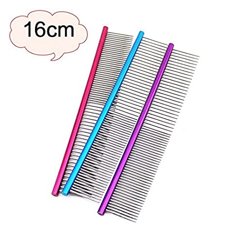 Blue Simplylin 16cm Pet Comb Professional Steel Grooming Comb Cleaning Brush
