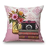 Easternproject Vintage Flower Camera Book Pattern Square Throw Pillow Case Decorative Cushion Cover Pillowcase 18x8 Inches for Home Sofa Couch Decor