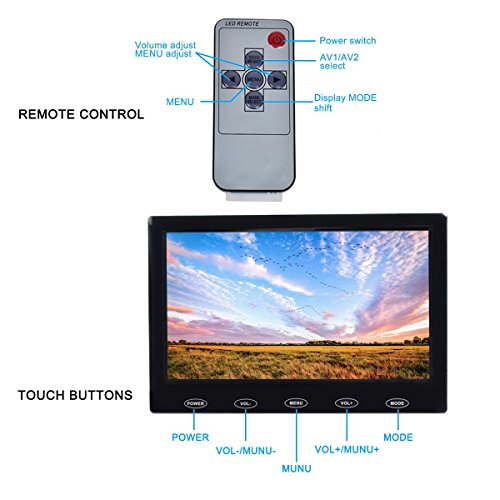 Toguard 7 Inch Ultra-thin 1024x600 Monitor Small Portable TFT LCD CCTV Video Display Screen with AV VGA HDMI Input Touch Button Built-in Speakers for Raspberry Pi PC TV Security Surveillance Cam by TOGUARD (Image #3)